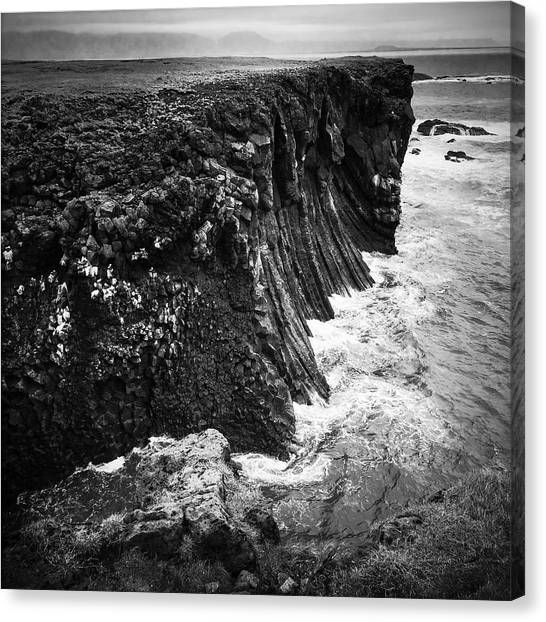 Squares Canvas Print - Iceland Coast Black And White by Matthias Hauser