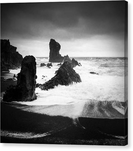 Black And White Canvas Print - Iceland Dritvik Beach And Cliffs Dramatic Black And White by Matthias Hauser