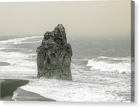 Tumbling Canvas Print - Iceland Dust Storm Dyholaey  by Betsy Knapp