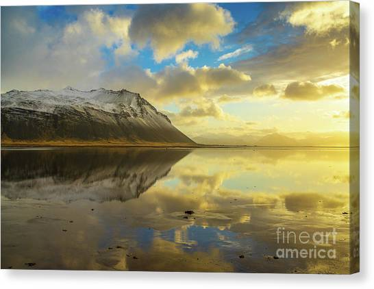 Vatnajokull Glacier Canvas Print - Iceland Golden Cloudscape And Snow Dusted Peaks by Mike Reid