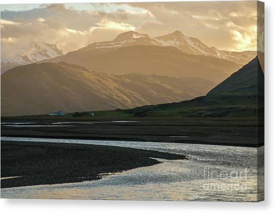 Vatnajokull Glacier Canvas Print - Iceland Golden Light Mountains And Water by Mike Reid