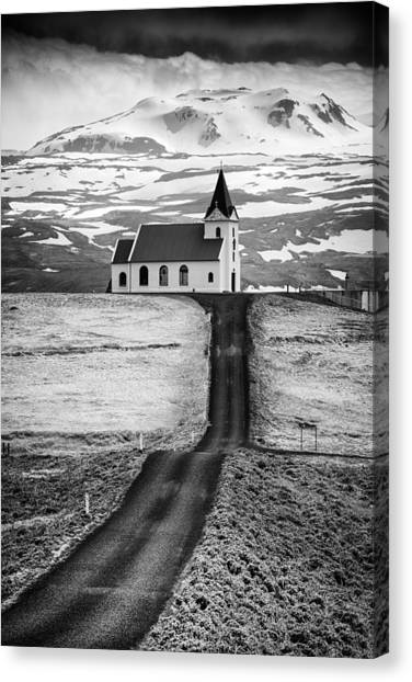 Iceland Ingjaldsholl Church And Mountains Black And White Canvas Print