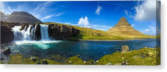 Waterfalls Canvas Print - Iceland Panorama Shot Kirkjufell by Matthias Hauser
