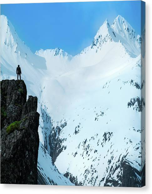 White Church Canvas Print - Iceland Snow Covered Mountains by Larry Marshall