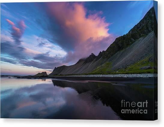 Vatnajokull Glacier Canvas Print - Iceland Stokksnes Glass Beach Reflection by Mike Reid