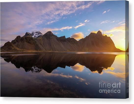 Vatnajokull Glacier Canvas Print - Iceland Stokksnes Sunrise Reflection by Mike Reid