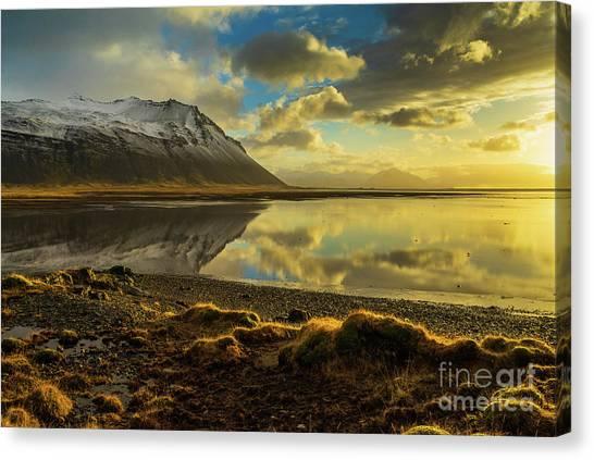 Vatnajokull Glacier Canvas Print - Iceland Sunrise Tranquility Reflection by Mike Reid