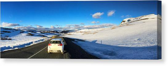 Snow Canvas Print - Iceland Travel - Snow Covered Mountain Pass In June by Matthias Hauser
