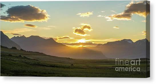 Vatnajokull Glacier Canvas Print - Iceland Vast Landscape Sunset Sunrays by Mike Reid