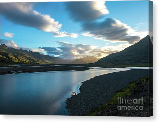 Vatnajokull Glacier Canvas Print - Iceland Water And Clouds Motion by Mike Reid