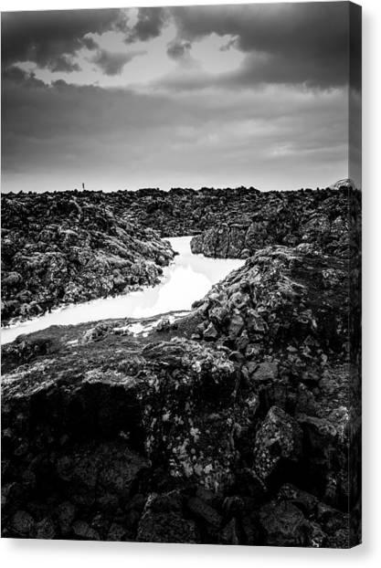 Icelandic Silica Stream In Black And White Canvas Print