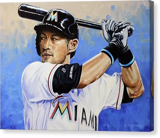Miami Marlins Canvas Print - Ichiro by Rick McKinney