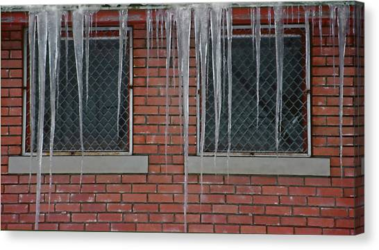 Icicles 2 - In Front Of Windows Off Red Brick Bldg. Canvas Print by Steve Ohlsen