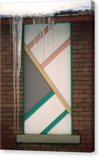Icicles 3 - In Front Of Architectural Design Off Red Brick Bldg. Canvas Print by Steve Ohlsen