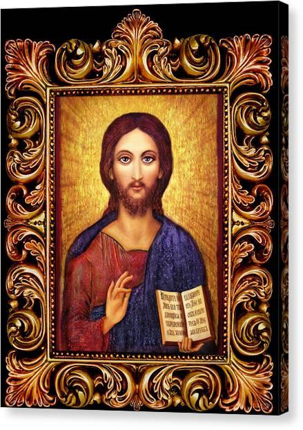 Icon Christ Altar Canvas Print by Ananda Vdovic