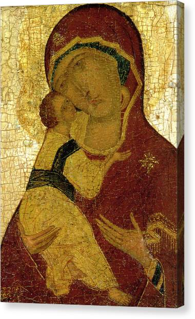 Orthodox Canvas Print - Icon Of The Virgin Of Vladimir by Moscow School