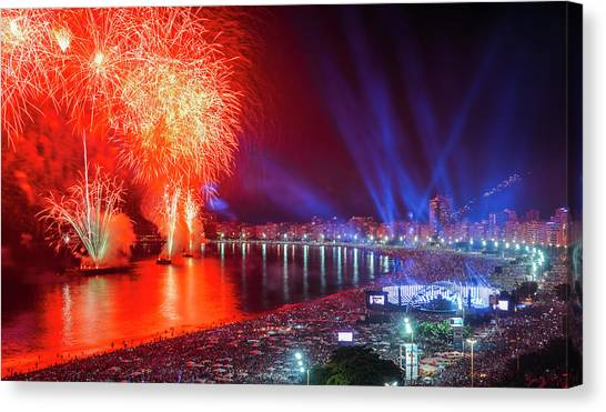 Iconic And Breath-taking Fireworks Display On Copacabana Beach,  Canvas Print