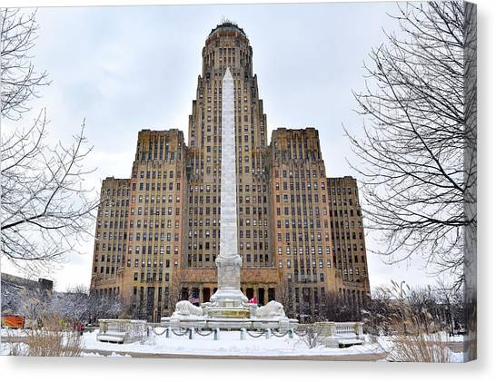Iconic Buffalo City Hall In Winter Canvas Print