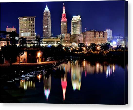 Cleveland Indians Canvas Print - Iconic Night View Of Cleveland by Frozen in Time Fine Art Photography