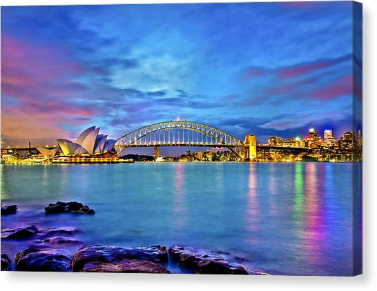 South Canvas Print - Icons Of Sydney Harbour by Az Jackson