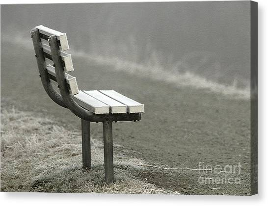 Icy Bench In The Fog Canvas Print