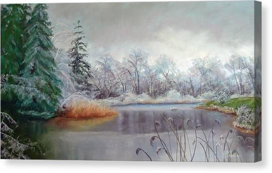 Icy Connecticut Morning Canvas Print by Linda Preece