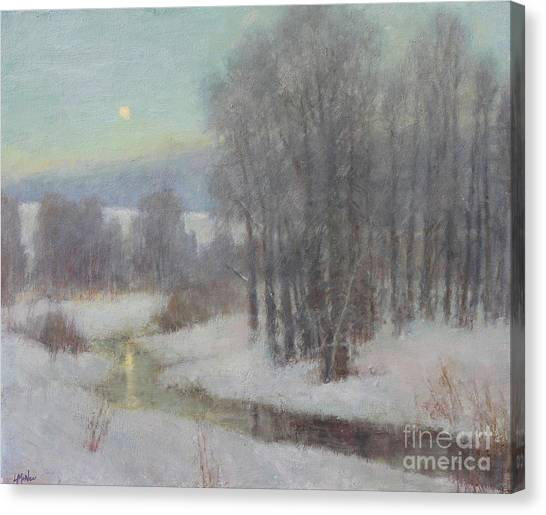 Full Moon Canvas Print - Icy Evening by Lori McNee