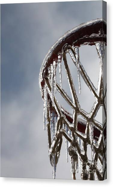 Basketball Canvas Print - Icy Hoops by Nadine Rippelmeyer