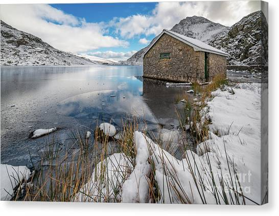 Tryfan Canvas Print - Icy Lake Snowdonia by Adrian Evans
