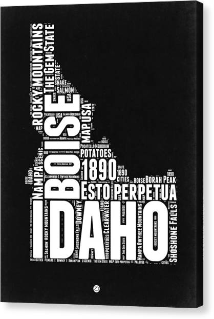 Idaho Canvas Print - Idaho Black And White Map by Naxart Studio