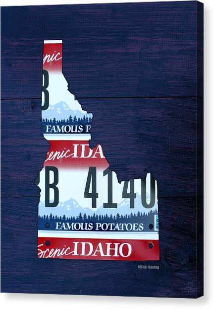 Potato Canvas Print - Idaho Famous Potatoes State License Plate Map by Design Turnpike
