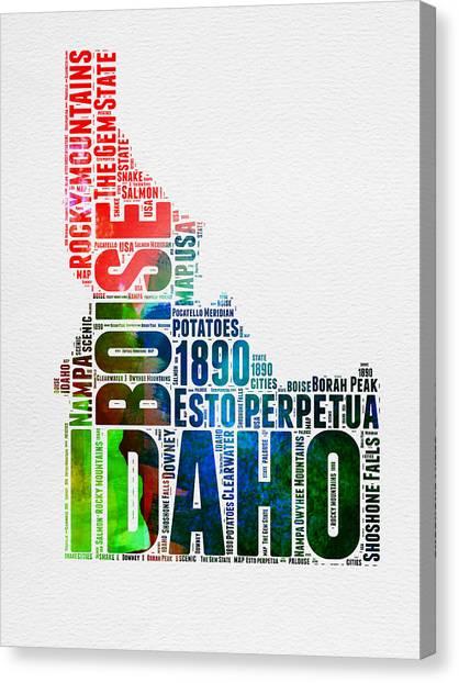 America Map Canvas Print - Idaho Watercolor Word Cloud  by Naxart Studio