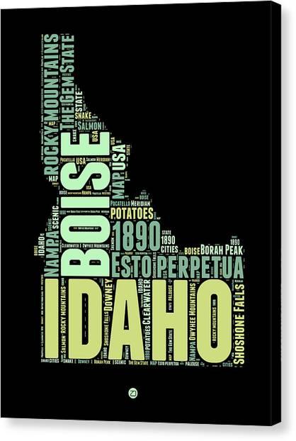 America Map Canvas Print - Idaho Word Cloud 1 by Naxart Studio