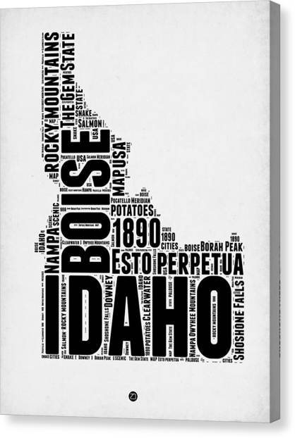 Idaho Canvas Print - Idaho Word Cloud 2 by Naxart Studio