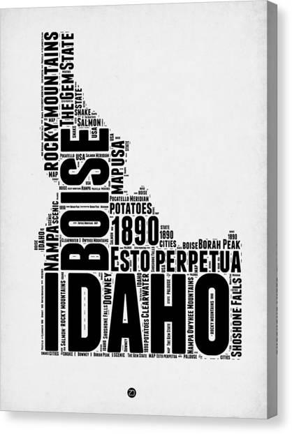 America Map Canvas Print - Idaho Word Cloud 2 by Naxart Studio