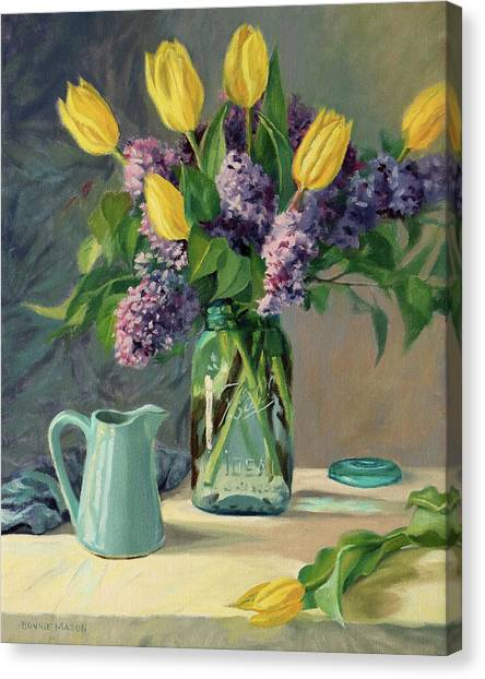 Ideal - Yellow Tulips And Lilacs In A Blue Mason Jar Canvas Print