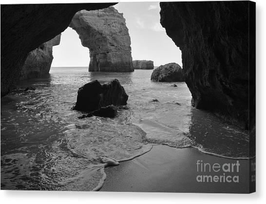 Idyllic Cave In Monochrome Canvas Print