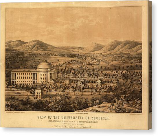 Monticello Canvas Print - View Of The University Of Virginia, Charlottesville And Monticello, Taken From Lewis Mountain by Sachse