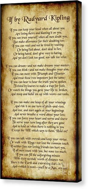 If By Rudyard Kipling - Long Parchment Style  Canvas Print