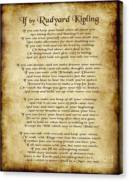 If By Rudyard Kipling - Parchment Style Canvas Print