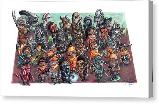 Mortal Kombat Canvas Print - If Minions Were Mortal Kombat Characters by Serafin Ureno