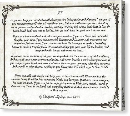 Graduation Canvas Print - If Poem By Rudyard Kipling by Desiderata Gallery
