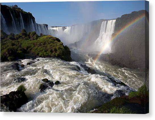 Iguassu Falls With Rainbow Canvas Print