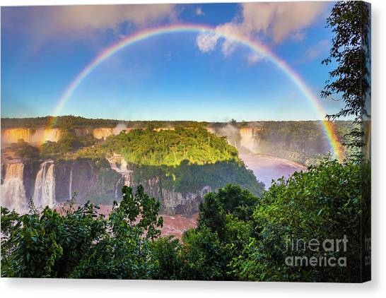 Iguazu Falls Canvas Print - Iguazu Rainbow by Inge Johnsson