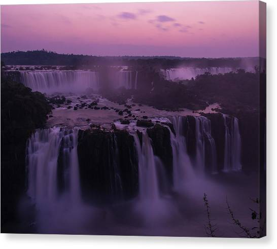 Iguazu Sunset In Violet Canvas Print