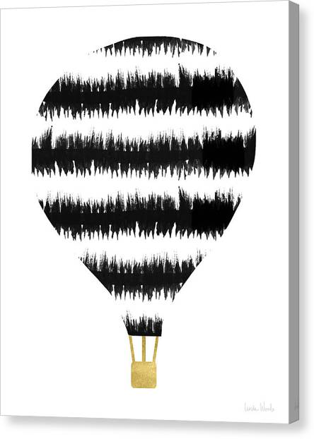 Hot Air Balloons Canvas Print - Ikat Stripe Hot Air Balloon- Art By Linda Woods by Linda Woods