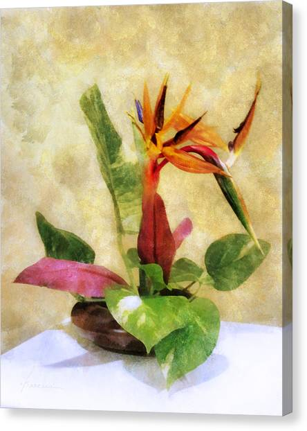 Ikebana Bird Of Paradise Canvas Print