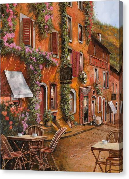 Bar Canvas Print - Il Bar Sulla Discesa by Guido Borelli