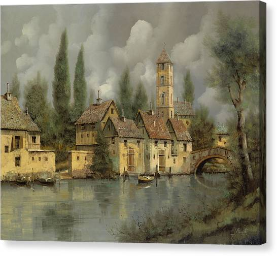 Villages Canvas Print - Il Borgo Sul Fiume by Guido Borelli
