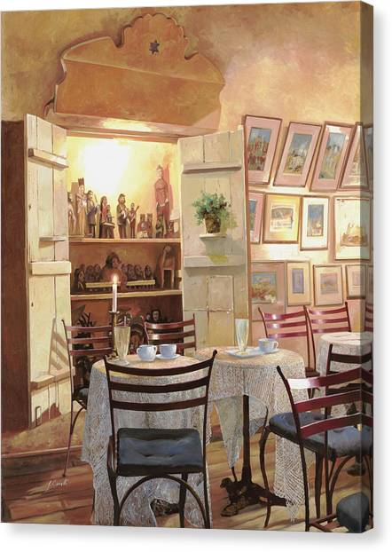 Pub Canvas Print - Il Caffe Dell'armadio by Guido Borelli